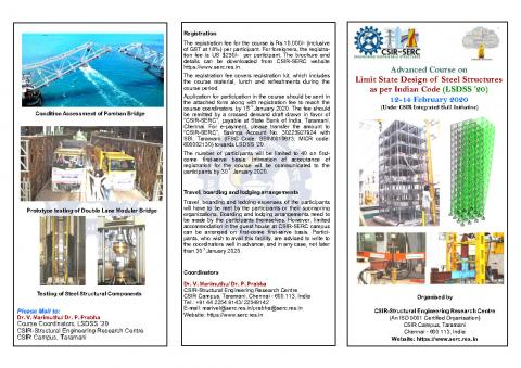 Advanced Course on 'Limit State Design of Steel Structures (LSDSS 20)' 12-14 February 2020