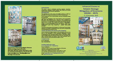 Advanced Course on Seismic Damage Mitigation of Structures (SDMS 2019) 4-6 December 2019