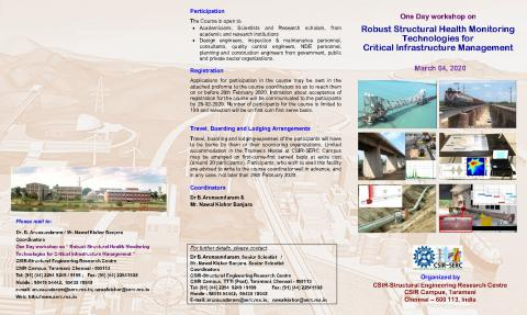 One Day workshop on Robust Structural Health Monitoring Technologies for Critical Infrastructure Management (March 04,2020)