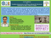 """Webinar3: """"Condition Assessment of Corrosion Affected RC Structures"""" on 16 Sep 2020 at 11.00 am"""
