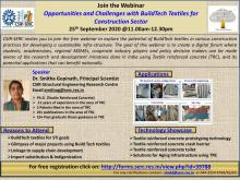 Webinar: Opportunities and Challenges with BuildTech Textiles for  Construction Sector  25th September 2020 @11.00am-12.30pm