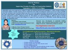 Webinar On  Improving Circular Economy in Construction Industry - September 2, 2020 @ 11-12.30pm